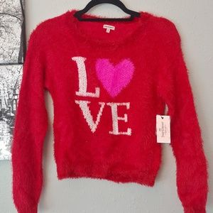 GIRL'S JUICY COUTURE RED FUZZY LOVE HEART Medium